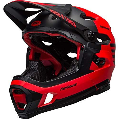 BELL Super DH MIPS Casco para Bicicleta de montaña, Rojo Mate y Negro Brillante, S | 52-56cm