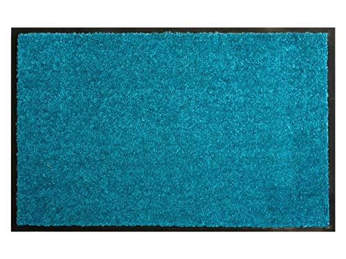 Primaflor - Ideen in Textil Schmutzfangmatte CLEAN – Türkis 90x150 cm, Waschbare, rutschfeste, Pflegeleichte Fußmatte, Eingangsmatte, Küchenläufer Sauberlauf-Matte, Türvorleger für Innen & Außen