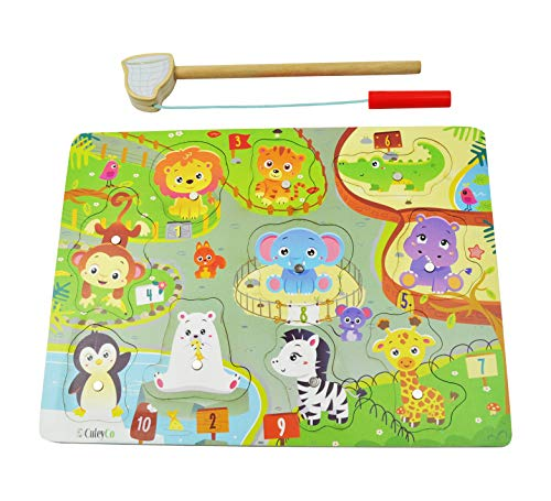 CuteyCo Magnetic Puzzle for Toddlers - Learn and Play Zoo Animal Fishing Puzzle