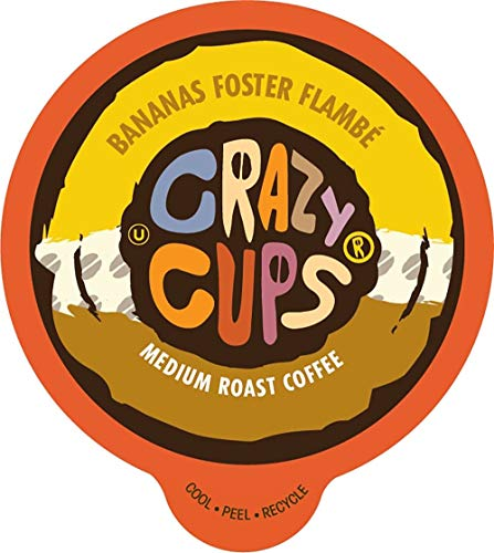 Crazy Cups Flavored Coffee for Keurig K-Cup Machines, Bananas Foster Flambe', Hot or Iced Drinks, 22 Single Serve, Recyclable Pods