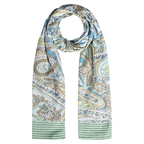 CODELLO Bufanda de verano para mujer, diseño de cachemira, 100% algodón, 100 x 180 cm