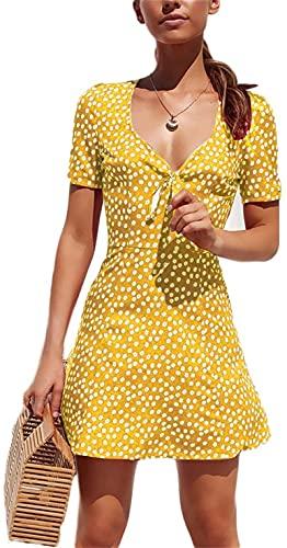 I3CKIZCE Vestito Mini Donna da Cocktail Casual Scollo a V Stampa Floreale Maniche Corte Merletto Fiocco Vestito Dritto Spiaggia Mare Sexy Vintage Elegante (Giallo, L)