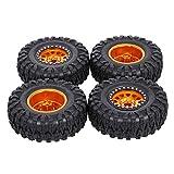 Mobiliarbus Rueda de Oruga con llanta 4PCS 2.2IN Neumáticos de Oruga RC con Borde de Metal Neumáticos de Oruga de Roca Ultra Suaves para 1/10 RC Rock Crawler Traxxas Trx4 TRX-6 Axial Scx10 90046