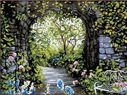 pintar por numeros Silla de jardín romántica DIY Conjunto de Pinturas para regalo hogar decoración de casa pintura al óleo de la lona 40x50cm(Sin marco)
