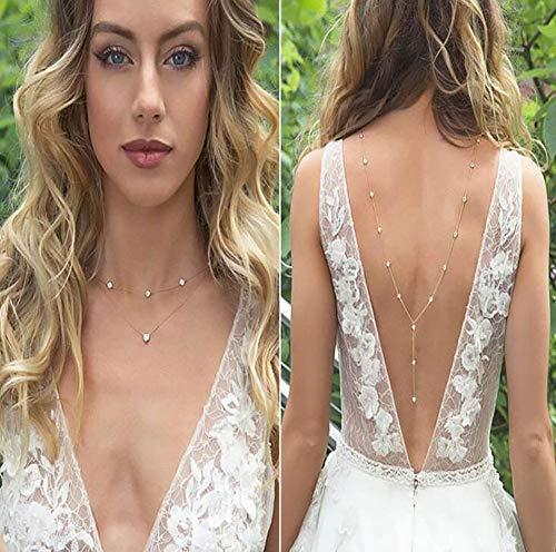 Casue Braut rückenfreies Kleid Halskette, Körper Kette zurück Halskette Hochzeit Schmuck rückenfreies Kleid Zubehör