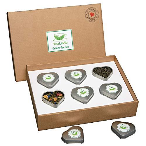 TEALAVIE - 6er Tee-Geschenke-Set - Grüner Tee lose | edle Herz-Teedose für Teeliebhaber | ideal für Dankeschön Geschenke | 45g loser Grüntee Mischung Mix | Probierset