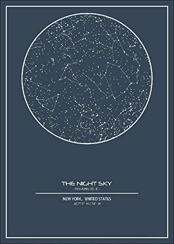 zzlfn3lv Sin Marco Noche Mapa del Cielo De Impresión Carta De Estrella Personalizada Pared del Cartel del Arte del Arte De La Lona Decoración del Hogar De La Sala De Estar-50X70Cm