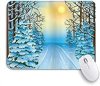 MISCERY マウスパッド 木と空の太陽の間の雪に覆われた道のある冬の森の眺めのグラフィックディスプレイプリント 高級感 おしゃれ 防水 端ステッチ 耐久性が良い 滑らかな表面 滑り止めゴム底 24cmx20cm