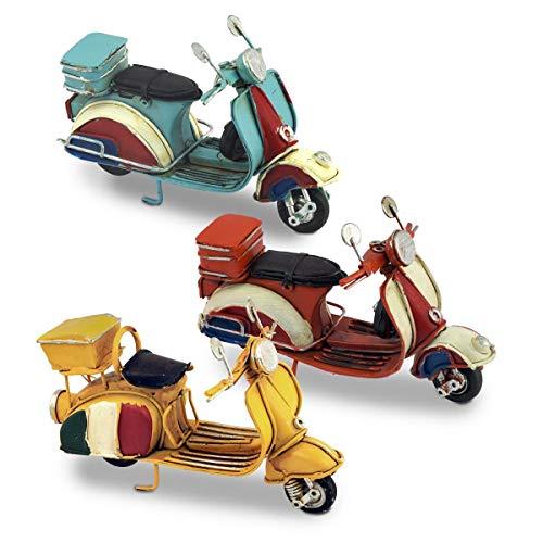 CAPRILO. Set de 3 Figuras Decorativas de Metal Vespas Multicolores. Adornos y Esculturas. Motos Retro. Vehículos Coleccionables. Decoración Hogar. Regalos Originales. 11,50 x 4 x 7 cm.