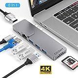 """ODOMY USB Type C ハブ 8in1 USB C ハブ macbook pro ハブ ドッキングステーション 4K HDMI高解像度 PD急速充電ポート USB3.0 ポート LANポート SD/MicroSDカードスロット Thunderbolt 3対応 Macbook Pro 2016/2017/2018 /2019/2020 13""""/15""""対応"""