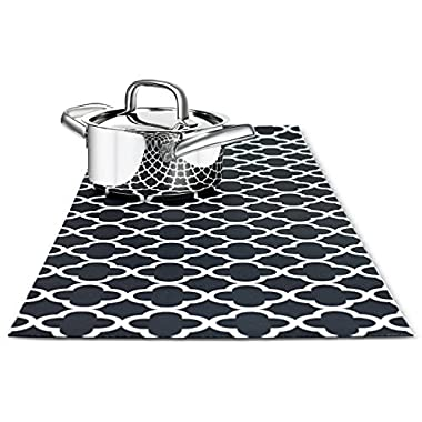 TRIVETRUNNER Decorative Trivet and Kitchen Table Runners Handles Heat, anti Slip, Hand Washable and Convenient for Hot Dishes, Black/White