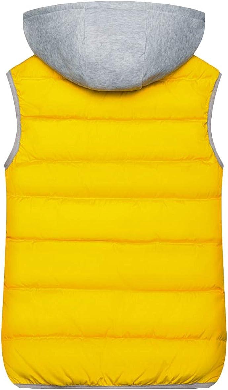 YMING Damen Winter Gilet Gesteppte Einfarbig Weste Warmer Mantel mit Kapuze Gelb