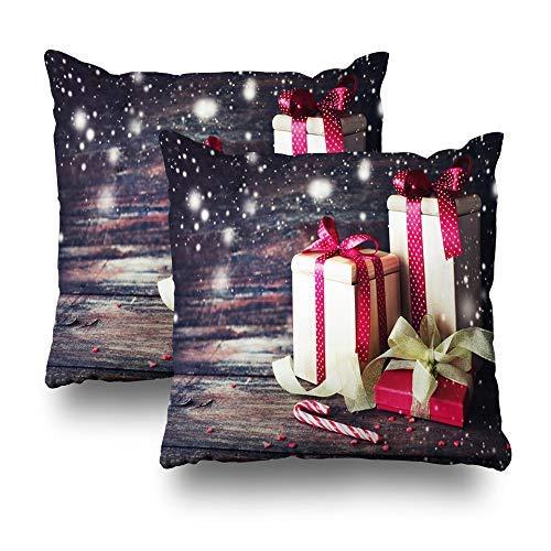 GFGKKGJFD Juego de 2 fundas de cojín de madera oscura con cinta roja para regalo, 18 x 18 cm, para sofá, adolescentes, niñas, regalos