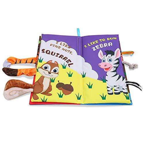Aspiree Quiet Bücher,Ultra Bücher weiche Baby,Bücher Touch and Feel-Tuch-Buch, Lernen, um Sinnes Buch,Tails Bücher Stoff Aktivität, Kinder Weihnachten,3D Bücher Stoff Aktivität für Babys / Kleinkinder