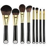 Eono by Amazon - Juego de 8 brochas de maquillaje profesional para base de sombra de ojos y resaltador de contorno, perfecto para kits de brochas de maquillaje de viaje, color dorado
