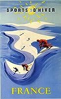 French Skiing Shabby Chic Retro Travel 金属板ブリキ看板警告サイン注意サイン表示パネル情報サイン金属安全サイン