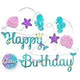 Mermaid Happy Birthday Banner - Mermaid Party Supplies Decorations | PREMIUM Under the Sea Mermaid Birthday Party Decor Theme | NEW for 2020, Cute, Sparkle Glitter, and Pre-assembled!