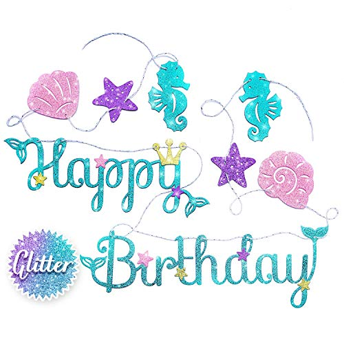 Mermaid Happy Birthday Banner – Mermaid Party Supplies Decorations   PREMIUM Under the Sea Mermaid Birthday Party Decor Theme   NEW for 2019, Cute, Sparkle Glitter, and Pre-assembled!