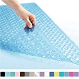 Gorilla Grip Original Patented Bath, Shower, Tub Mat, 35x16, Machine Washable, Antibacterial, BPA, Latex, Phthalate Free, Bathtub Mats with Drain Holes and Suction Cups, XL Size Bathroom Mats, Blue