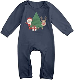 MUAIKEJI Santa Claus and Deer Long Sleeve Baby Romper Bodysuit Outfits Clothes