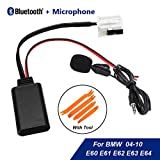 Car Bluetooth Module AUX-IN Audio Cable Adapter + Tool & Microphone for BMW E60 04-10 E63 E64 E61 E66 E81 E82 E87 E70 E90 E91 E92 Mini Navi Radio Stereo Aux Cable Adapter Wireless Audio