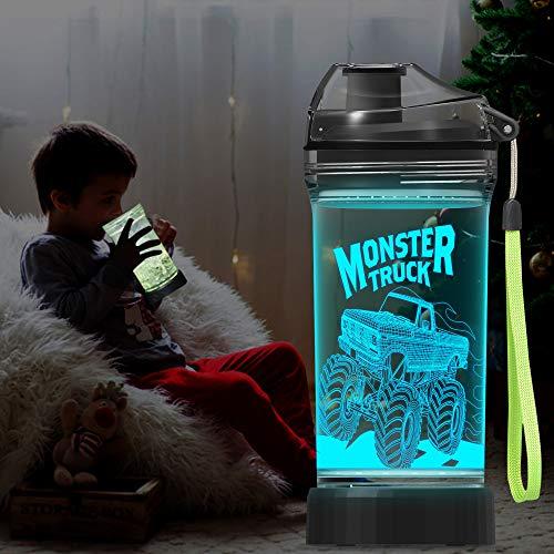 Botella de agua para niños con luz LED 3D Monster Truck Ilusion – 14 oz Tritan libre de BPA – Taza de viaje ideal creativa regalo para la escuela, niño niño niño o día festivo picnic camping