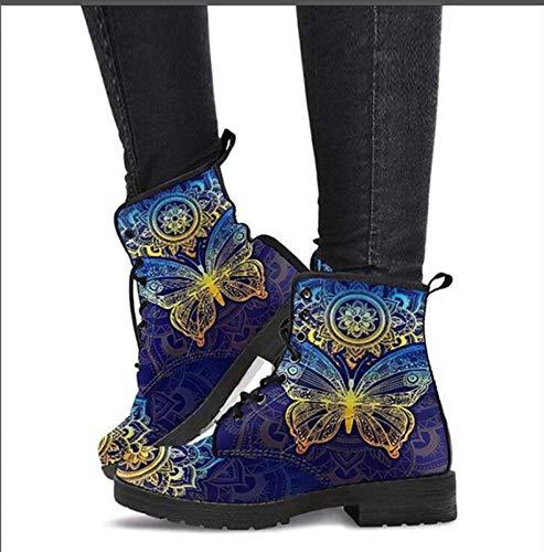 Botines de Mujer, Botines con Cordones de Mujer para Primavera, otoño e Invierno. (Color : Blue, Size : 43)