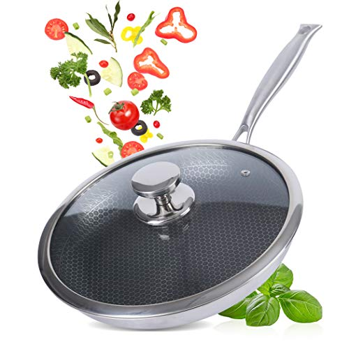 FCUS Frying Pan Stainless Steel Honeycomb Grill...