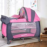 Baby Travel Cot Bassinet Bed with Changing Table Baby Play Pen Entryway Folding Portable Travel Cot with...