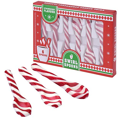 Becky´s Zuckerstangen Löffel - Swirl Spoons - Erdbeergeschmack, rot weiß - 6 Stück, je 12 g