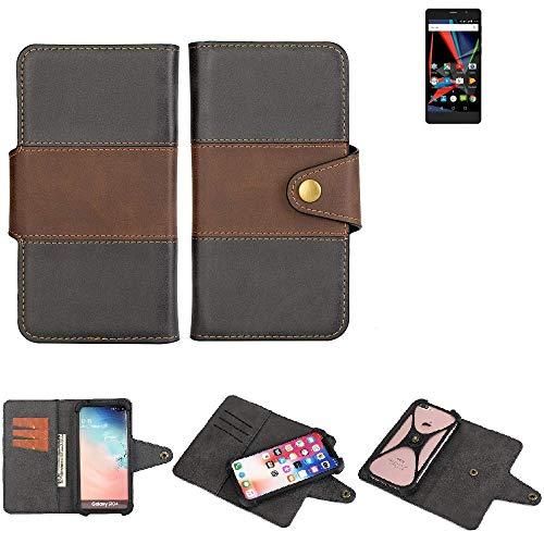 K-S-Trade® Handy-Hülle Schutz-Hülle Bookstyle Wallet-Case Für -Archos 55 Diamond Selfie Lite- Bumper R&umschutz Schwarz-braun 1x