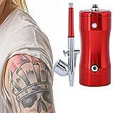 Mini Airbrush Gun Paint Sprayer, G12 Pump 0.3mm Mini 7CC Airbrush Compressor Kit + Cleaning Tool Craft Paint Art Spray Gun Set Tools for Inkjet Painted Nail Art Tattoo Hobby Model(Red)