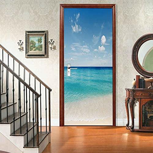 MZNVTD 3D Etiqueta De Puerta Autoadhesiva Extraíble Impermeable Vista Al Mar De La Playa Del Cielo Azul Pegatinas De Pared Para Dormitorio Oficina Cuarto De Niños Arte Moderno Decoración De Hogar 90x2