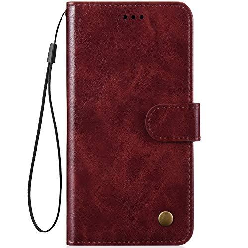 Compatible con Huawei P8 Lite PU Cuero Magnetica Flip Wallet Funda,Compatible con Huawei P8 Lite Carcasa PU Piel Cuero Cartera Premium Funda con Soporte Plegable/Ranuras para Tarjetas,Vino Tinto