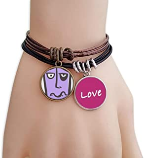 Smiing Abstract Face Sketch Emoji Love Bracelet Leather Rope Wristband Couple Set