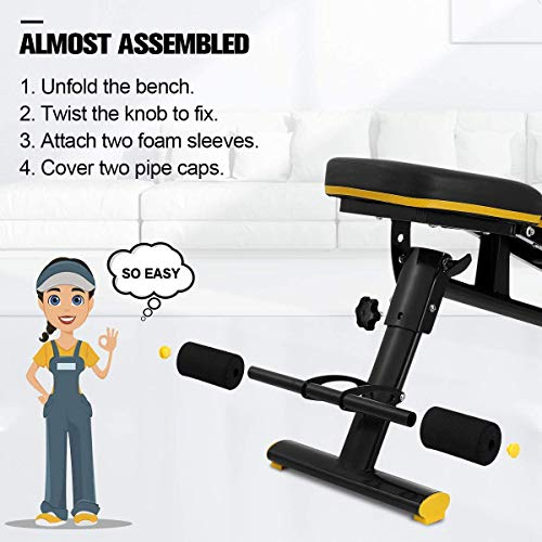 Adjustable Weight Bench, Doufit WB-01 Foldable Exercise Bench for Home Gym, Multi-Purpose Workout Incline Bench