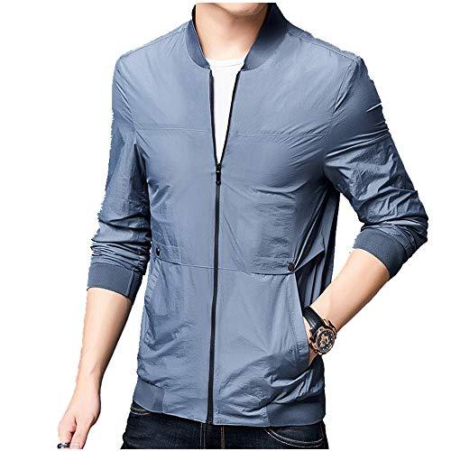 NOBRAND - Abrigo para hombre de primavera y otoño, delgado, a prueba de sol, ropa para personas de mediana edad y ancianos Azul azul XL