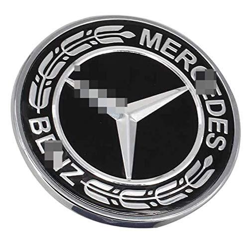 HAOXUAN Insignia del Emblema de la Estrella del capó Plano del Logotipo del capó del Coche, 57 mm ABS Apto para la decoración de la Clase Me-RC-ed-es B-ENZ W204 W212 C/E/S,Negro