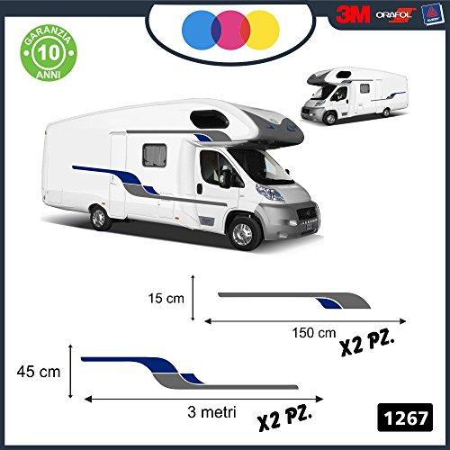 Pegatinas para caravana curvilíneas decorativas para ambos lados, para caravanas, furgonetas y van - código:1267 Grigio-Blu