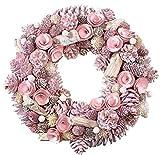 Precioso Puerta Navidad/Piñas Corona–rosa–diámetro 34cm–Decoración Pared/Corona de Navidad/Piñas colgante corona/mesa–Corona de Navidad/Navidad Decoración