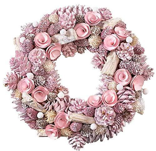 Wunderschöner Türkranz Weihnachten/Zapfenkranz - Rosa - Ø 34cm - Deko Wandkranz/Weihnachtskranz/Zapfen Hängekranz/Tischkranz - Weihnachten/Weihnachtsdeko