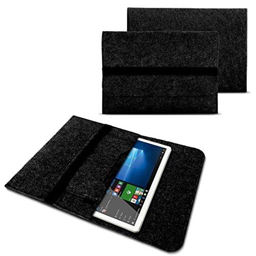 NAUC Tasche Hülle für Trekstor SurfTab Duo W1 W2 W3 Filz Sleeve Schutzhülle Tablet Hülle Cover Bag mit Innentaschen & sicheren Verschluss, Farben:Dunkel Grau