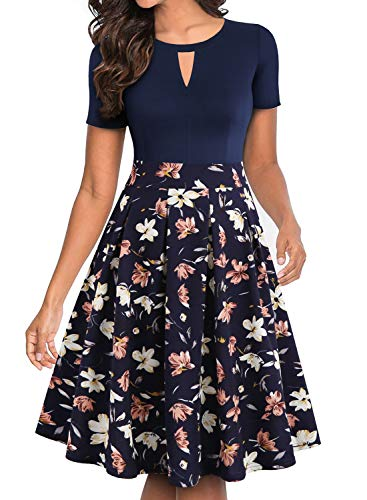 YATHON Women s Dresses  Vintage 1950s Hepburn Style Floral Patchwork Pockets Ball Gown Homecoming Tea Dress for Work Party Wedding Guest (XL  YT018-Navy Floral 01)