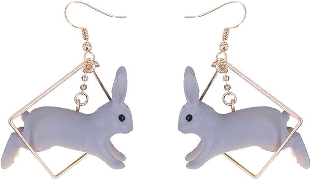 FENICAL 3D Fashion Rabbit Eardrop Earring Geometric Adorable Animal Ear Ornament for Women Ladies Girls (Ear Hook Style)
