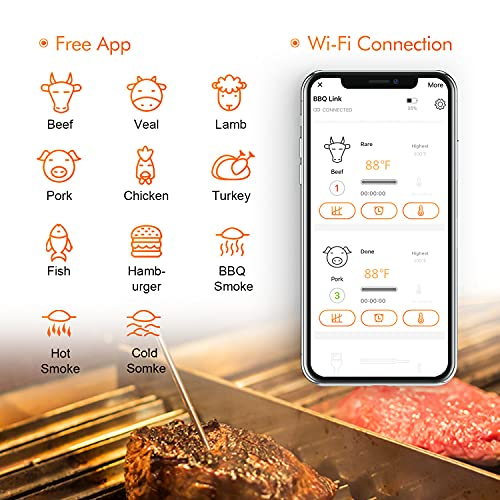 Inkbird WiFi Grill Meat Thermometer IBBQ-4T with 4 Colored Probes, Wireless Barbecue Meat Thermometer with Calibration, Timer, High and Low Temperature Alarm for Smoker, Oven, Kitchen, Drum