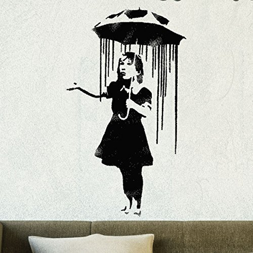 Banksy Schablone - Nola Regenschirm Regen Girl | Wiederverwendbar Wohndeko & Kunst Handwerk Malerei Schablone - semi-transparent Schablone, S/ 14X26CM