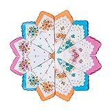 HOULIFE Fazzoletti da donna con fiori, in puro cotone, 3 colori, per uso quotidiano, 6/12 ...
