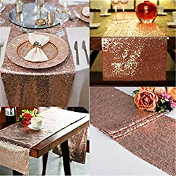 milkcha 4th of July Home Decor, Glitter Rose Gold Sequin Table Runner Cloth Sparkly Wedding Party Decor 30x275CM, for Home & Garden