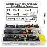 CERsaty 332Pcs Conector de cable resistente al agua, conector de nailon 1/2/3/4 Pin Macho Hembra Set de clasificación rápida para Coche Moto Boat, con pinzas curvadas