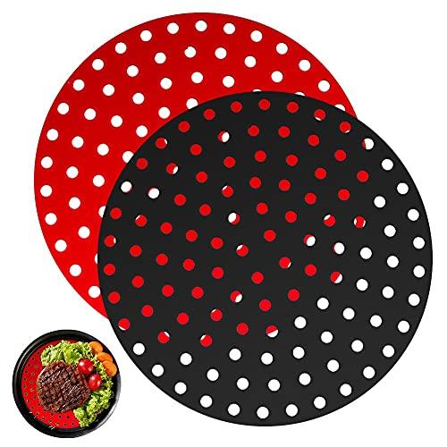 Papel Redondo Horno,2Pcs Alfombrillas de Silicona Reutilizables Air Fryer Liner, Papel Redondo Freidora, Antiadherentes (Redondo, 9.0 inch)
